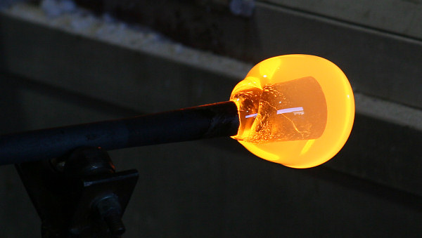 Steph's gather of molten glass