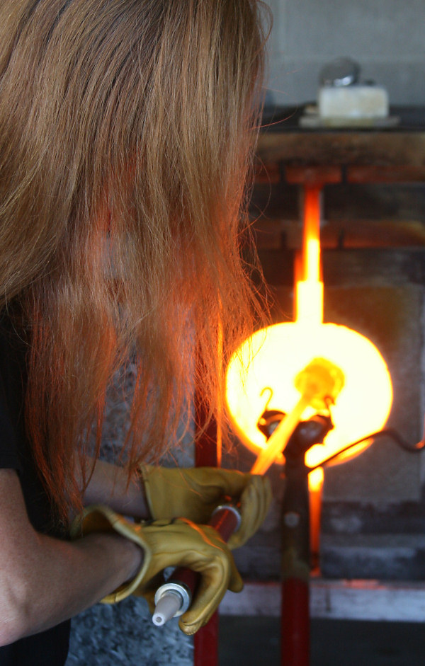heating the gather in the Glory Hole furnace